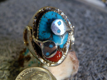 Mens Silver Sterling Turquoise & Coral Snake Ring Zuni Effie Calavaza Size 11