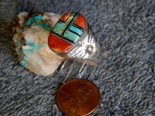 Light Mens Sterling Turquoise Spiny Large Inlay Ring Navajo Mary L Size 12 3/4