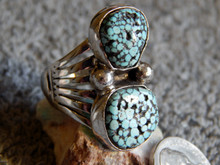 New Mens Black Spiderweb Turquoise Silver Ring Navajo Lorenzo James Size 11 1/4