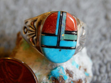 Light  Weight Mens Sterling Turquoise Spiny Inlay Ring Navajo Mary L Size 10 1/4