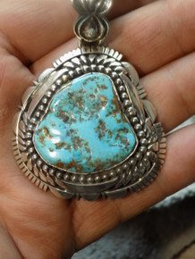 New Sterling Silver Bisbee Blue Turquoise Pendant Navajo Robert Shakey