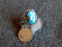 Sterling Sleeping Beauty Turquoise Snake Ring Zuni Effie Calavaza Size 8
