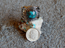 Bisbee Turquoise Sterling Silver Unisex Ring by Navajo Russel  Sam Size 10 1/2