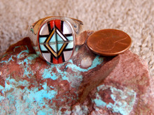 New Zuni Mens Ring Sterling Turquoise Coral Inlay Yelmo Natachu Size 12