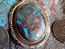 New Sterling Silver Bisbee Turquoise Pendant By Navajo Betta Lee