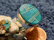 New Mens Sterling Turquoise Inlay Navajo Ring Wilbur Gray Size 11 1/4