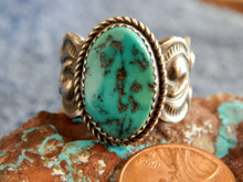 Mens Sterling Silver Navajo Turquoise Ring Martha Cayatineto Size 10