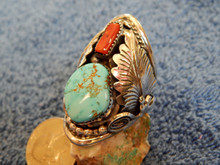 New Sterling Silver Turquoise Coral Ring by Navajo Mike Thomas Size 12 1/2