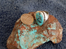 Light Weight Mens Sterling Kingman Turquoise Ring Navajo Peter Reeder Size 10 1/4