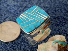 New Mens Sterling Silver Turquoise Inlay Ring Navajo Aldora M Powell Size 14
