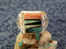 Mens Light Weight Sterling Multi Stone Inlay Navajo Tommy Lincoln Size 10 3/4