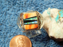 Mens Light Weight Sterling Multi Stone Inlay Navajo  Tommy Lincoln Size 10 1/2