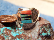 Mens Light Weight Sterling Multi Stone Inlay Navajo Tommy Lincoln Size 10 1/4