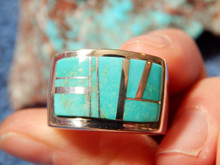 New Mens Sterling Silver Turquoise Inlay Ring Navajo Pamela Daniels Size 10