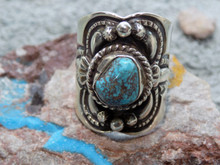 New Unisex Sterling Silver Bisbee Turquoise Ring Navajo Lorenzo James Size 8 1/2