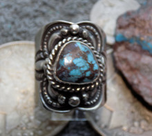 Unisex Sterling Silver Bisbee Turquoise Ring Navajo Lorenzo James Size 10 1/4