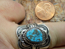 New Mens Bisbee Turquoise Sterling Silver  Ring Navajo Lorenzo James Size 11 1/4