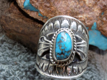 Bisbee Turquoise Sterling Silver Unisex Ring Navajo Lorenzo James Size 10 1/2