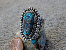Bisbee Turquoise Sterling Silver Ring By Navajo Lorenzo James Size 7 1/4