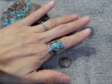 Bisbee Turquoise Sterling Silver Unisex Ring Navajo Lorenzo James Size 7 1/2