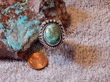Bisbee Turquoise Sterling Silver Ring by Navajo  Russel Sam Size 11 1/4