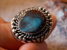 Smokey Bisbee Turquoise Sterling Silver Ring by Navajo  Russel Sam Size 12