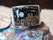New Mens Sterling Silver Night Sky Mirco Inlay Ring Navajo Fred Begay Size 14