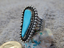 Bisbee Turquoise Sterling Silver Ring By Navajo Lorenzo James Size 8 1/4