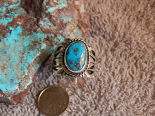 Bisbee Turquoise Sterling Silver Unisex Ring by Navajo Russell Sam Size 9 1/4