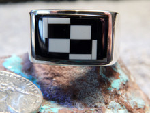 Mens Sterling Silver Jet White Buffalo Ring By Navajo Sonya Lewis Size 14 1/2