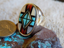 New Zuni Mens Ring  Sterling Turquoise Coral Inlay Yelmo Natachu size 10 3/4