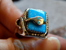 New Mens Silver Sterling Turquoise Snake Ring Zuni Effie Calavaza Size 12