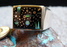 Sterling Created Opal Night Sky Mens Inlay Ring Navajo Marty Yazzie Size 13 3/4