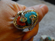 Mens Silver Sterling Turquoise Coral Snake Ring Zuni Effie Calavaza Size 11