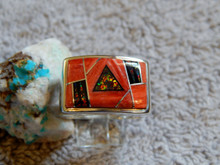 Sterling Spiny Oyster Created Opal Inlay Ring Navajo Marty Yazzie Size 11 1/4