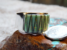Sterling Turquoise Created Opal Inlay Ring Navajo Marty Yazzie Size 10 3/4