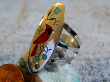 New Ladies Sam & Esther Guardian Sterling Silver Bird Inlay Zuni Ring Size 9 1/4