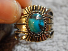 Bisbee Turquoise Sterling Silver Unisex  Ring by Navajo Russell Sam Size 8 1/2