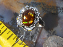 New Sterling Silver and Slaughter Camp AZ Fire Agate Gem ring size 5 3/4