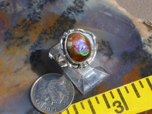 New Sterling Silver and  Fire Agate Gem ring size  5 1/4