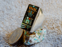 Mens Sterling Silver Turquoise Jet Inlay Ring  Navajo Gilbert Smith Size 11 3/4