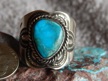 Sterling Silver Bisbee Turquoise Unisex Ring Navajo Lorenzo James Size 15 1/4