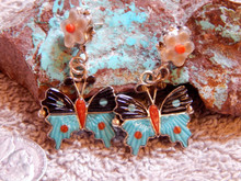 New Sterling Silver Turquoise Butterfly Earrings By Zuni Tamara Pinto