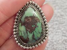 New Rare Green Bisbee Turquoise Sterling Silver Pendant  Navajo Geraldine James