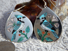Sterling Turquoise Shell Inlay Bird Earrings Zuni Rudy & Nancy Laconsello