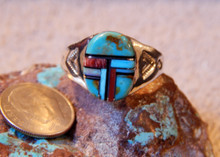 Light Weight Mens Sterling Turquoise Spiny Inlay Navajo Mary L Ring Size 13 1/4
