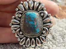 New Bisbee Turquoise Sterling Silver Repoussé Pendant  Navajo Geraldine James
