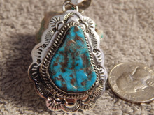 New Bisbee Turquoise Sterling Silver Pendant Navajo Geraldine James