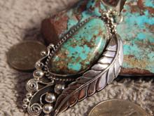 New Bisbee Turquoise Sterling Silver Leaf Pendant  Navajo Geraldine James