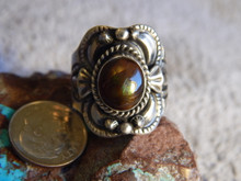 New Sterling Silver Fire Agate Unisex Ring By Navajo Lorenzo James Size 10 3/4